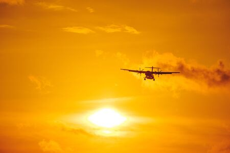 Silhouette of a passenger airliner in the sky during sunset. Airplane in the sky. Take-off and landing, transport and commercial passenger transportation concept. Travel and flights.