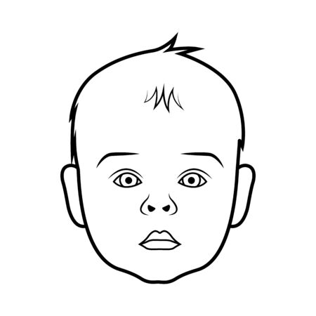 black baby boy: Realistic baby face icon. Isolated vector illustration on white background. Illustration