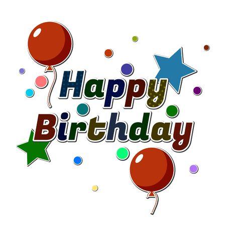 Birthday card with balloons. Vector illustration. Illustration