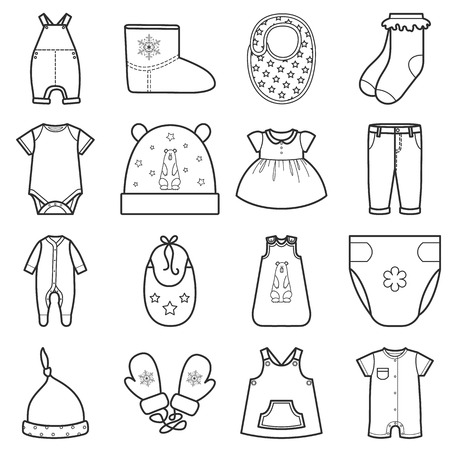 Baby clothes set. Isolated vector illustration on white background. Vectores