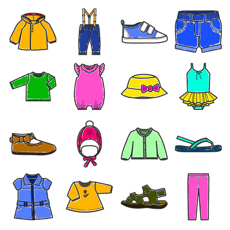 warm things: Colored baby clothes icons set.Isolated vector illustration on white background. Illustration