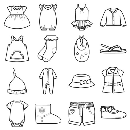 Baby clothes icons set.Clothing for girl. Isolated vector illustration on white background.