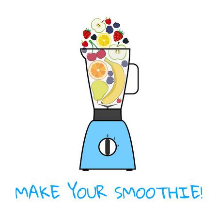Make your smoothie. Mix fruits. Isolated vector illustration on white background. Illustration