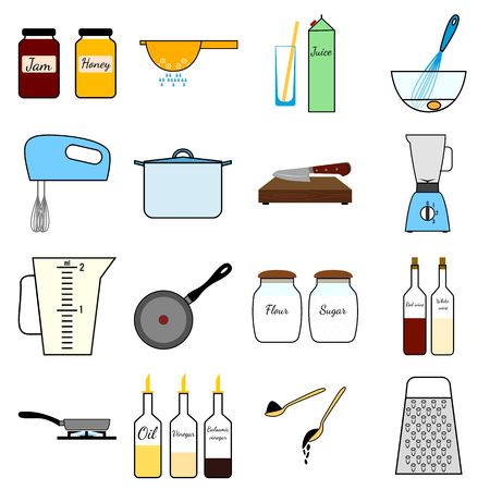 boiling tube: Kitchenware set.Cooking process set. Isolated vector illustration on white background.