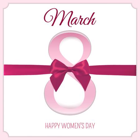 ribbin: March 8 international womens day background. Greeting card template. Vector illustration. Illustration