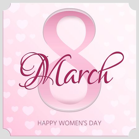 heats: Elegant greeting card design for International Womens Day. 8 march card. Vector illustration