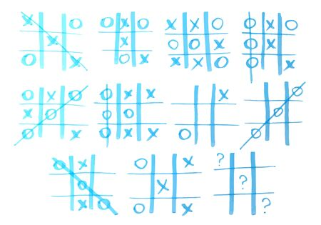 pedagogical: Set of tic-tac-toe drawn by marker. Vector illustration.