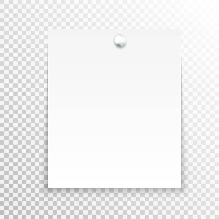 tack: White sticky note isolated on transparent background. Template for your projects. Vector illustration. Illustration