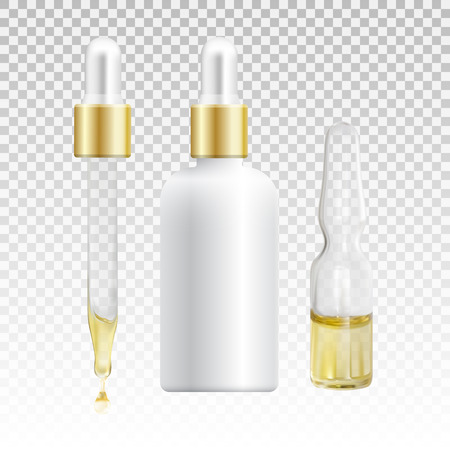 pharmaceutics: Mock up of cosmetic product for catalog, magazine. Vector design of cosmetic package. Natural oil with vitamins or hyaluronic acid. Vector illustration with isolated objects Illustration