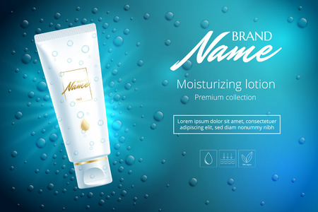 catalog: Advertising poster for cosmetic product for catalog, magazine. Vector design of cosmetic patskage. Moisturizing cream, gel, body lotion with vitamins. Vector illustration with isolated objects