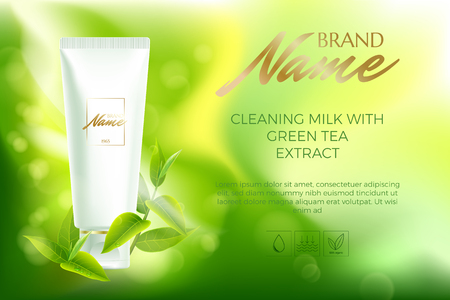Advertising poster for cosmetic product for catalog, magazine. Vector design of cosmetic package.Moisturizing cream, gel, body lotion with green tea extract . Vector illustration with isolated objects Stock Vector - 81763603
