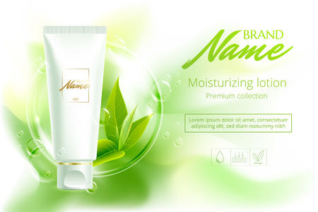 Advertising poster for cosmetic product for catalog, magazine. Vector design of cosmetic package.Moisturizing cream, gel, body lotion with green tea extract . Vector illustration with isolated objects Reklamní fotografie - 81764011