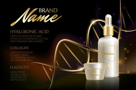 Plakat reklamowy dla produktu kosmetycznego na katalog, magazyn. Wektor projektowania opakowania kosmetyczne. Naturalny olej z witaminami lub kwasem hialuronowym. Ilustracji wektorowych z izolowanych obiektów