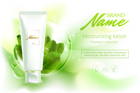 Advertising poster cosmetics shampoo, lotion, shower gel with extract or mint flavor. A model for the promotion of cosmetics in catalogs, magazines on web sites