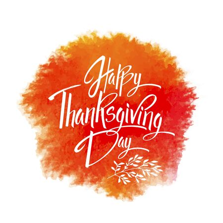 Happy Thankgiving Day greeting card. Lettering Happy Thankgiving Day