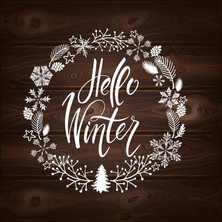 Postcard hello winter with cute elements. Isolated vector illustration on white background.