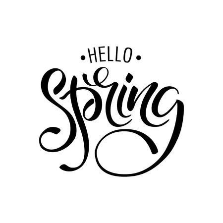 Lettering of brush Hello Spring you can use in yuor disign, print posters, cards and promotional items Illustration