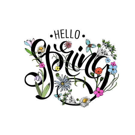 Lettering of brush Hello Spring you can use in yuor disign, print posters, cards and promotional items. Flower Background and Hello Spring Lettering Illustration