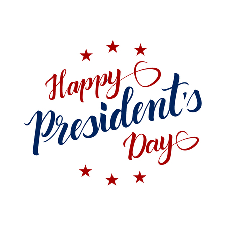Red and blue inscription Happy Presidents Day