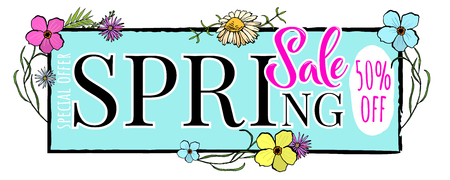 The advertising poster is a spring sale, discounts are fifty percent. Lettering Spring Sale Illustration