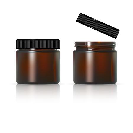 Vaso di vetro marrone per crema cosmetica. Pacchetto cosmetico realistico Archivio Fotografico - 96687405