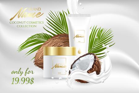 Diseño de publicidad de productos cosméticos para catálogo, revista. Maqueta de paquete cosmético. Crema hidratante, gel, loción corporal de leche con aceite de coco. Logos