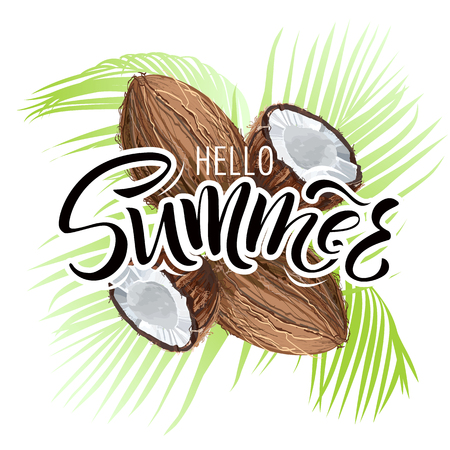 Lettering hello summer wrote by brush. Hello summer calligraphy.