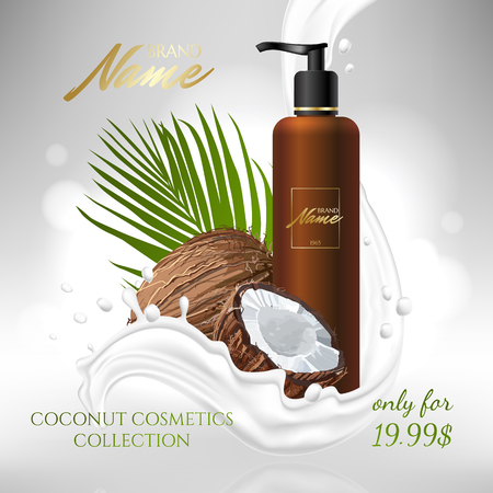 Design cosmetics product advertising for catalog, magazine. Mock up of cosmetic package. Moisturizing cream, gel, milk body lotion with coconut oil.  イラスト・ベクター素材