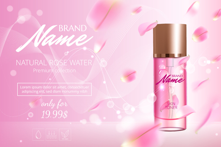 Advertising poster for cosmetic product with rose for catalog, magazine. Vector design of cosmetic package. Perfume advertising poster.Moisturizing toner, cream, gel, body lotion with rose extract . Ilustração