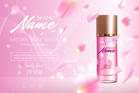 Cartel publicitario para producto cosmético con rosa para catálogo, revista. Diseño vectorial de paquete cosmético. Cartel publicitario de perfume. Tónico hidratante, crema, gel, loción corporal con extracto de rosa.