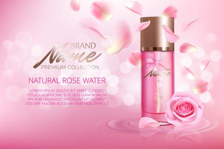 Cartel publicitario para producto cosmético con rosa para catálogo, revista. Diseño vectorial de paquete cosmético. Cartel publicitario de perfume. Tónico hidratante, crema, gel, loción corporal con extracto de rosa. Logos