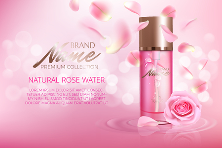 Advertising poster for cosmetic product with rose for catalog, magazine. Vector design of cosmetic package. Perfume advertising poster.Moisturizing toner, cream, gel, body lotion with rose extract . Stock Illustratie