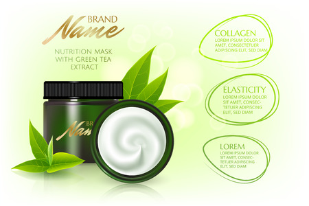Advertising poster for cosmetic product for catalog, magazine. Vector design of cosmetic package.Moisturizing cream, gel, body lotion with green tea extract .