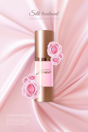 Advertising poster for cosmetic product with rose for catalog, magazine. Vector design of cosmetic package. Perfume advertising poster.Moisturizing toner, cream, gel, body lotion with rose extract . Иллюстрация