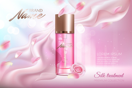 Advertising poster for cosmetic product with rose petals and glass container.