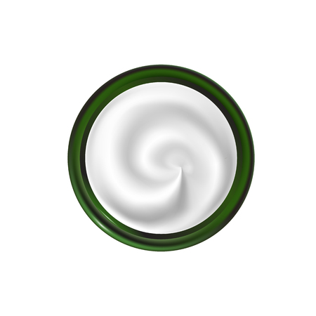 Jar with a spiral texture cream vector illustration