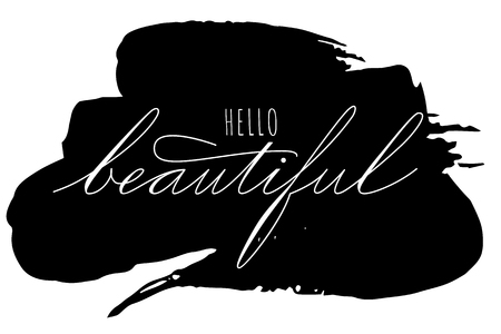 lettering hello beautiful phrase. handwriting of Spencerians