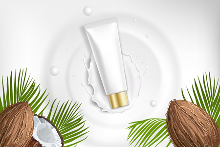 Design cosmetics product advertising for catalog, magazine. Mock up of cosmetic package. Moisturizing cream, gel, milk body lotion with coconut oil. Ilustração