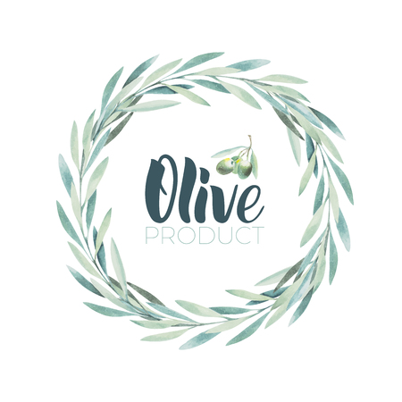 Watercolor olive wreath. Sketch of olive branch on white background. Olive oil lettering by brushpen. Illustration