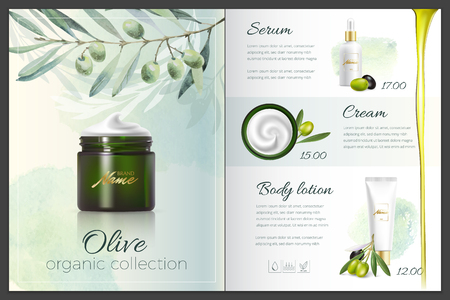 Design cosmetics product advertising for catalog, magazine. Mock up of cosmetic package. Moisturizing cream, gel, milk body lotion with coconut oil. Illustration