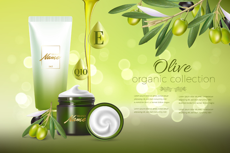 Design cosmetics product advertising for catalog, magazine. Mock up of cosmetic package. Moisturizing cream, gel, milk body lotion with olive oil. Reklamní fotografie - 114766659