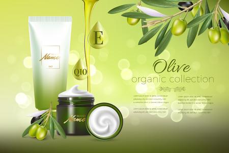 Ontwerp reclame voor cosmeticaproducten voor catalogus, tijdschrift. Bespotten van cosmetisch pakket. Hydraterende crème, gel, melk bodylotion met olijfolie. Vector Illustratie