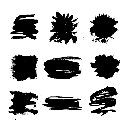 Set of hand drawn design elements. Vector collection of black ink spots.