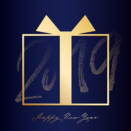 Happy new uear post with nice lettering 2019 in gold color Illustration