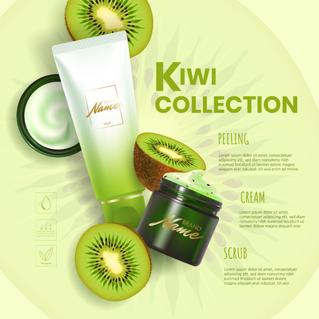 Design advertising poster for cosmetic product for catalog, magazine. Vector design of cosmetic package.Moisturizing cream, gel, scrub, body lotion with kiwi extract.