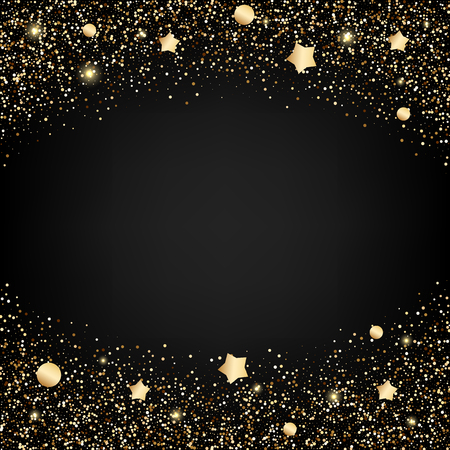 Gold glitter background with stars Ilustrace