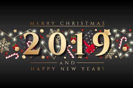 Biglietto di auguri di sfondo per buon Natale con una ghirlanda colorata realistica di rami di pino, decorata con luci natalizie, stelle dorate, fiocchi di neve