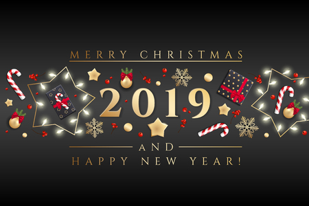 Holidays Background for Merry Christmas greeting card with a realistic colorful garland of pine tree branches, decorated with Christmas lights, gold stars, snowflakes