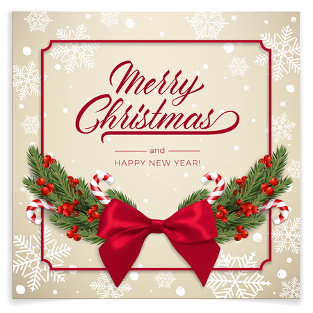 Holidays Background for Merry Christmas greeting card with a realistic green garland of pine tree branches, decorated with Christmas candy, snowflakes, red berries