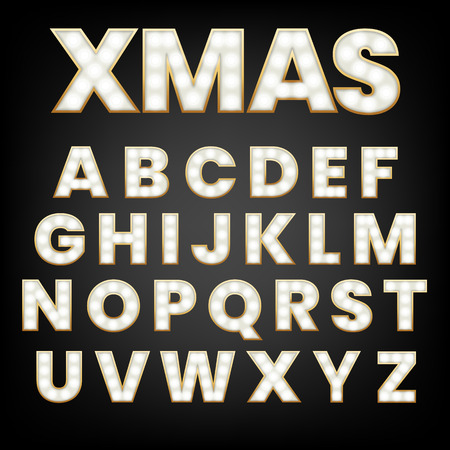 Glowing letters with light bulbs and a gold outline. Unique font for your design projects